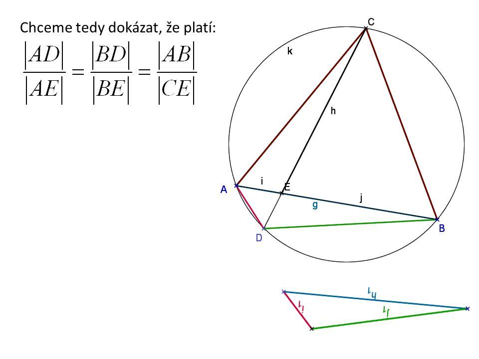 Sestrojíme zadání úlohy a bodem E vedeme rovnoběžku s BC 120° Podle věty o středových a obvodových úhlech doplníme velikosti úhlů Trojúhelník AEF je rovnostranný, protože všechny jeho úhly mají velikost 60° Potom i úhel u bodu F je 120° 120° Platí: AE = EF, CE = CE, EB = FC (rovnoramenný lichoběžník BCFE) Dokazujeme tedy podobnost trojúhelníků:   Úhly označené  jsou shodné, jsou to oba obvodové úhly v dané kružnici nad AD Trojúhelníky ABD a ECF jsou tedy podobné podle věty uu a platí: