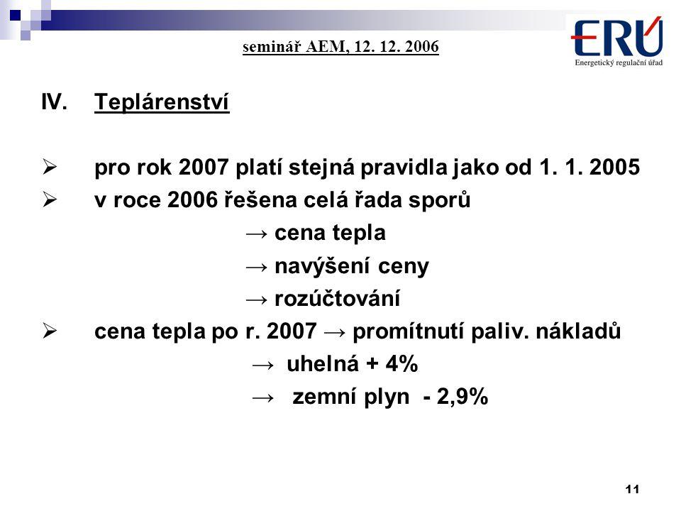 11 seminář AEM, 12. 12. 2006 IV.Teplárenství  pro rok 2007 platí stejná pravidla jako od 1.