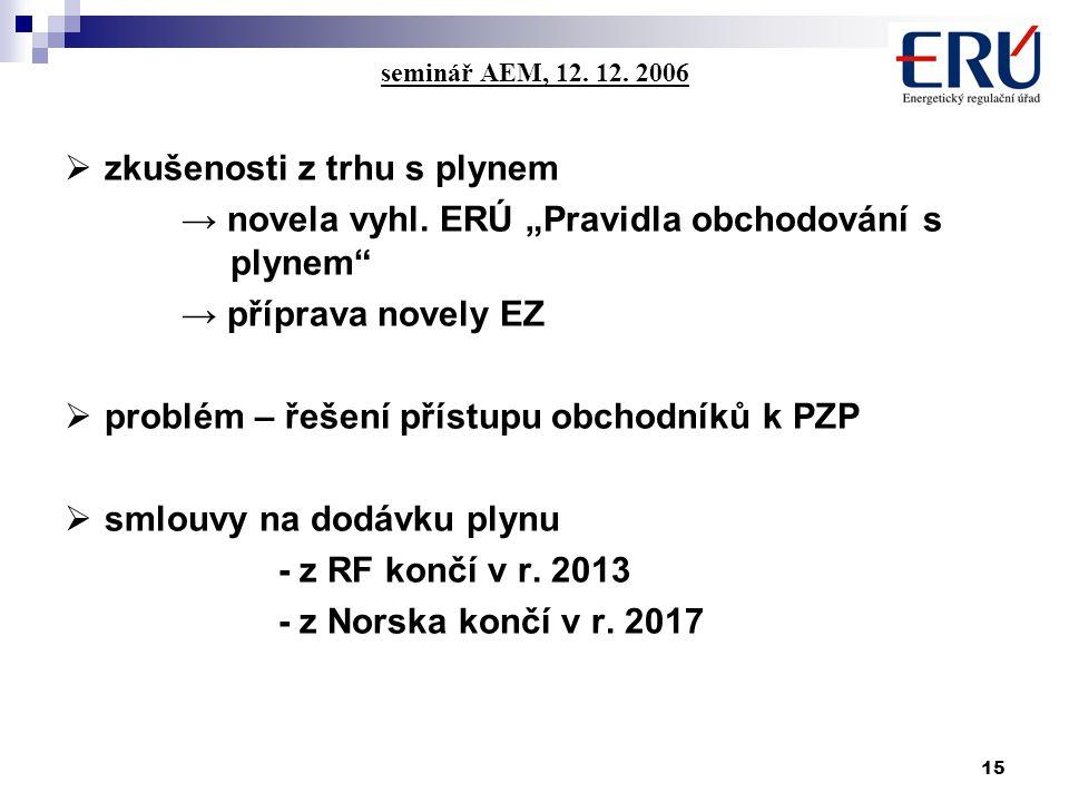 15 seminář AEM, 12. 12. 2006  zkušenosti z trhu s plynem → novela vyhl.