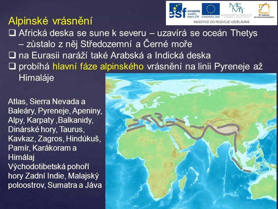 Alpinské vrásnění  Africká deska se sune k severu – uzavírá se oceán Thetys – zůstalo z něj Středozemní a Černé moře  na Eurasii naráží také Arabská