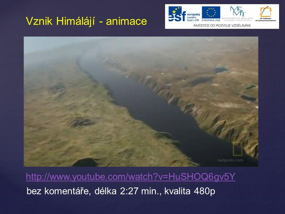 Vznik Himálájí - animace http://www.youtube.com/watch?v=HuSHOQ6gv5Y bez komentáře, délka 2:27 min., kvalita 480p