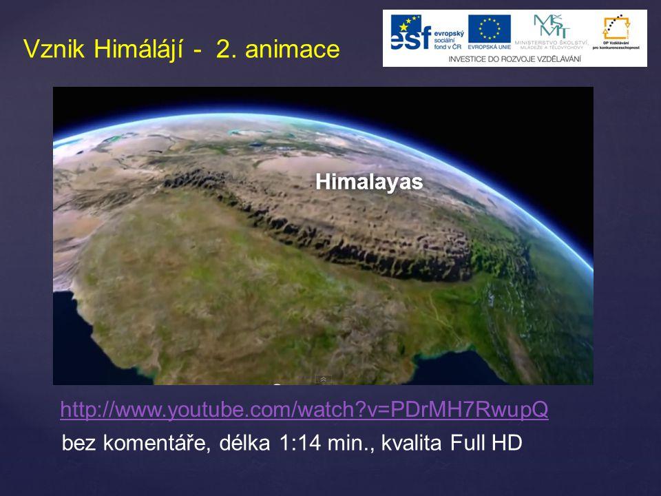 Vznik Himálájí - 2. animace http://www.youtube.com/watch?v=PDrMH7RwupQ bez komentáře, délka 1:14 min., kvalita Full HD