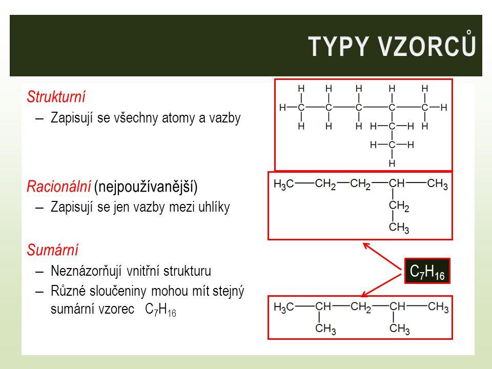 Strukturní – Zapisují se všechny atomy a vazby Racionální (nejpoužívanější) – Zapisují se jen vazby mezi uhlíky Sumární – Neznázorňují vnitřní strukturu – Různé sloučeniny mohou mít stejný sumární vzorec C 7 H 16 C 7 H 16
