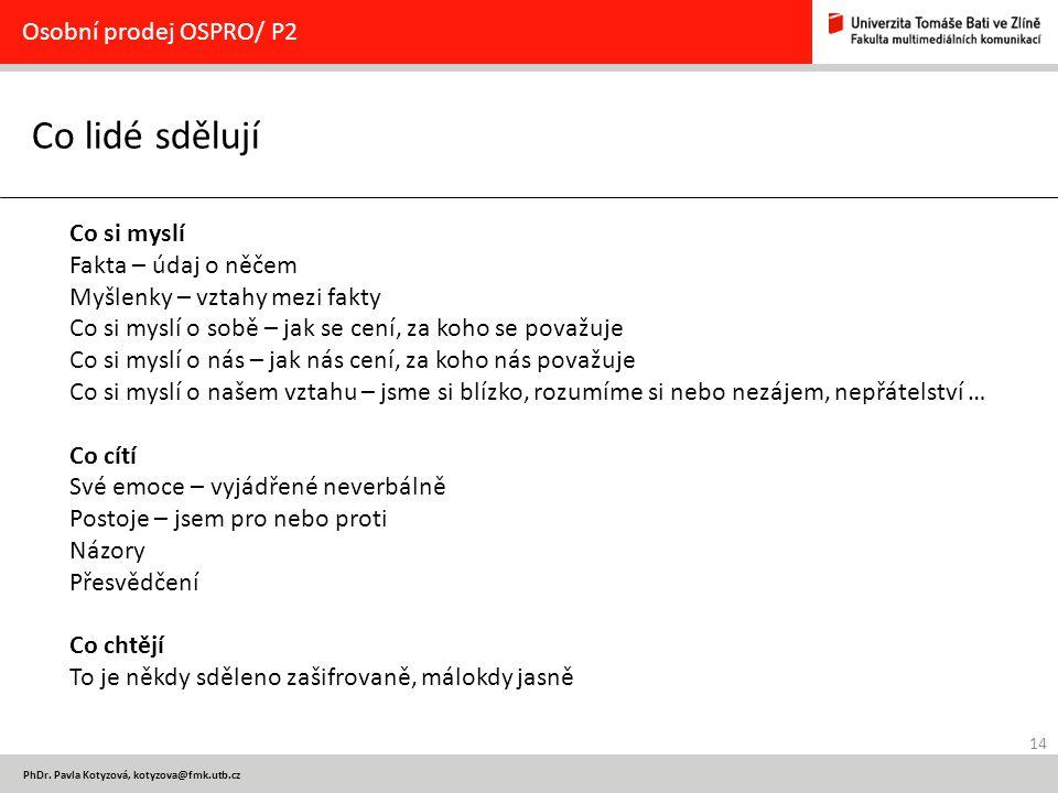 14 PhDr. Pavla Kotyzová, kotyzova@fmk.utb.cz Co lidé sdělují Osobní prodej OSPRO/ P2 Co si myslí Fakta – údaj o něčem Myšlenky – vztahy mezi fakty Co