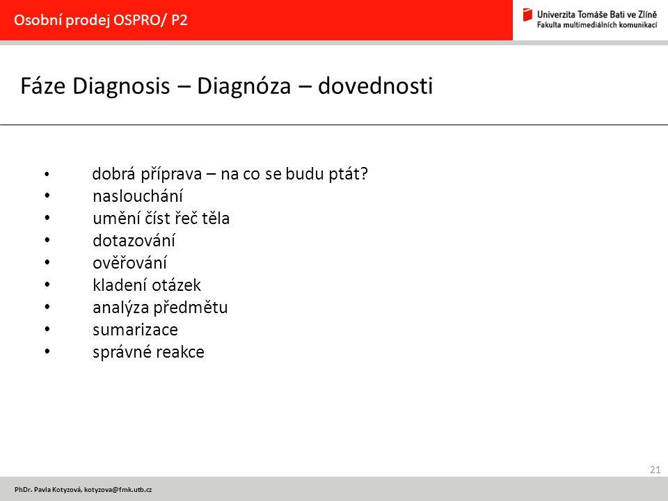 21 PhDr. Pavla Kotyzová, kotyzova@fmk.utb.cz Fáze Diagnosis – Diagnóza – dovednosti Osobní prodej OSPRO/ P2 dobrá příprava – na co se budu ptát? naslo