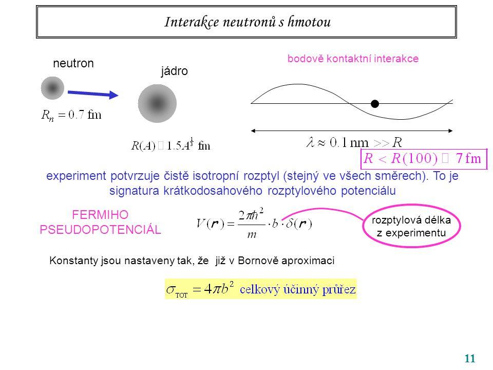 11 Interakce neutronů s hmotou neutron jádro bodově kontaktní interakce experiment potvrzuje čistě isotropní rozptyl (stejný ve všech směrech). To je