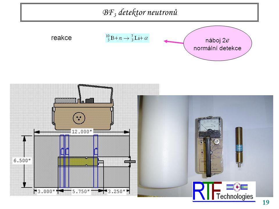 19 BF 3 detektor neutronů reakce náboj 2 e normální detekce