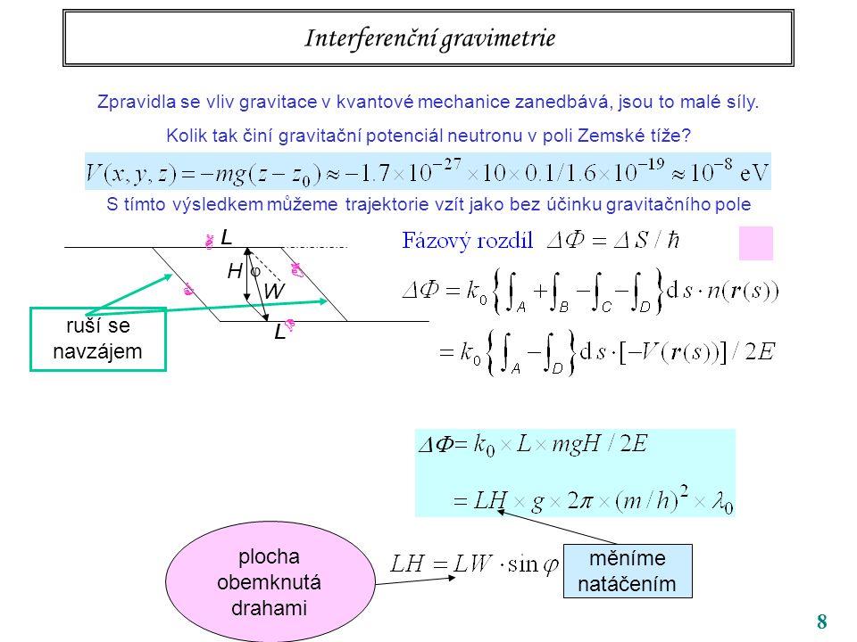 8 Interferenční gravimetrie Zpravidla se vliv gravitace v kvantové mechanice zanedbává, jsou to malé síly. Kolik tak činí gravitační potenciál neutron