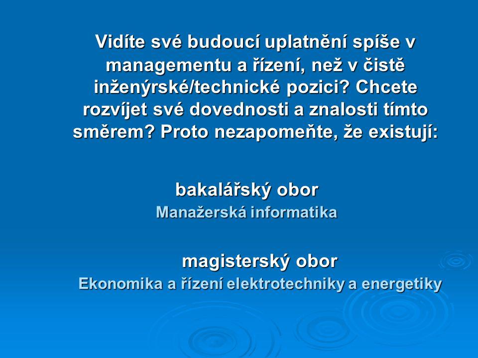 Vidíte své budoucí uplatnění spíše v managementu a řízení, než v čistě inženýrské/technické pozici.