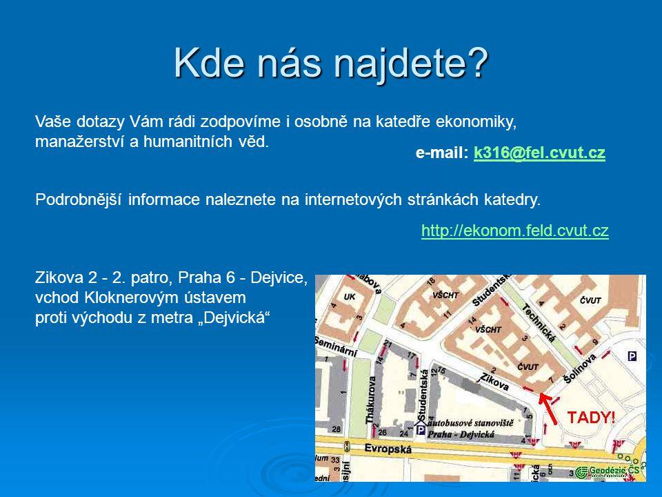 Kde nás najdete? Vaše dotazy Vám rádi zodpovíme i osobně na katedře ekonomiky, manažerství a humanitních věd. http://ekonom.feld.cvut.cz e-mail: k316@
