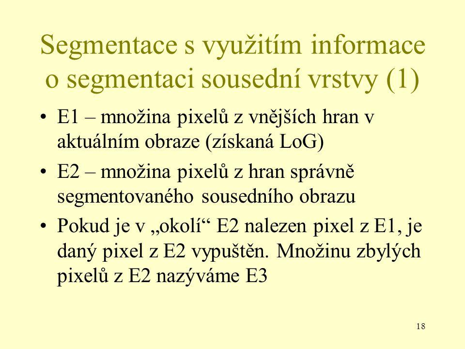 """18 Segmentace s využitím informace o segmentaci sousední vrstvy (1) E1 – množina pixelů z vnějších hran v aktuálním obraze (získaná LoG) E2 – množina pixelů z hran správně segmentovaného sousedního obrazu Pokud je v """"okolí E2 nalezen pixel z E1, je daný pixel z E2 vypuštěn."""