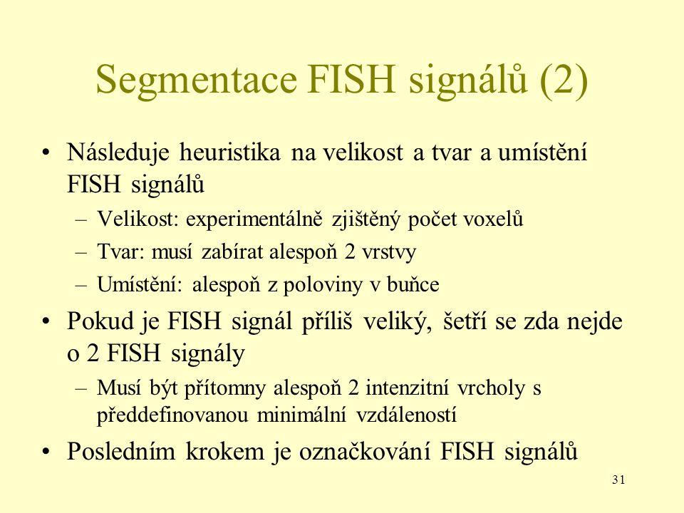 31 Segmentace FISH signálů (2) Následuje heuristika na velikost a tvar a umístění FISH signálů –Velikost: experimentálně zjištěný počet voxelů –Tvar: musí zabírat alespoň 2 vrstvy –Umístění: alespoň z poloviny v buňce Pokud je FISH signál příliš veliký, šetří se zda nejde o 2 FISH signály –Musí být přítomny alespoň 2 intenzitní vrcholy s předdefinovanou minimální vzdáleností Posledním krokem je označkování FISH signálů