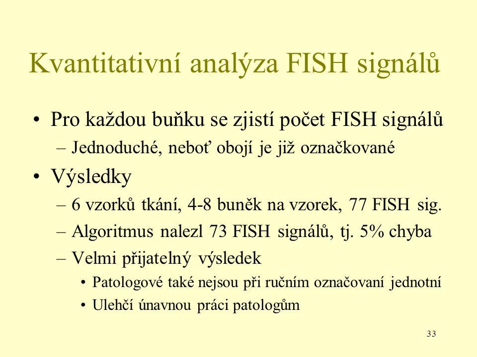 33 Kvantitativní analýza FISH signálů Pro každou buňku se zjistí počet FISH signálů –Jednoduché, neboť obojí je již označkované Výsledky –6 vzorků tkání, 4-8 buněk na vzorek, 77 FISH sig.