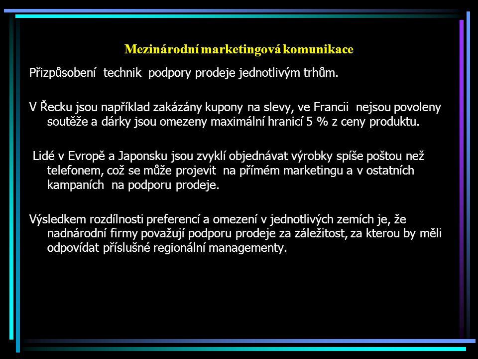 Mezinárodní marketingová komunikace Přizpůsobení technik podpory prodeje jednotlivým trhům. V Řecku jsou například zakázány kupony na slevy, ve Franci