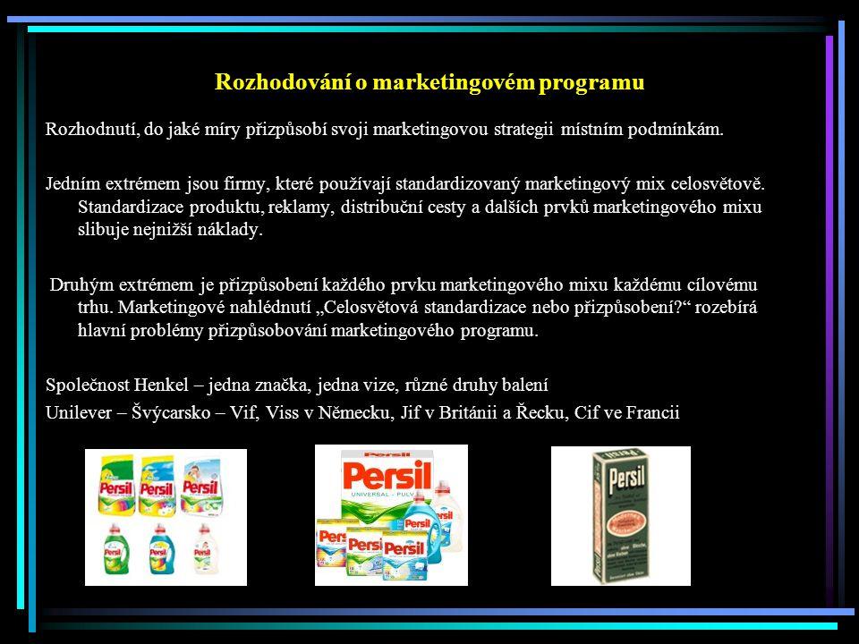 Mezinárodní výrobková politika Základní charakteristiky, užitné vlastnosti – fyzikální vlastnosti, chemické složení, výkon, rozměry, trvanlivost, chuť ….