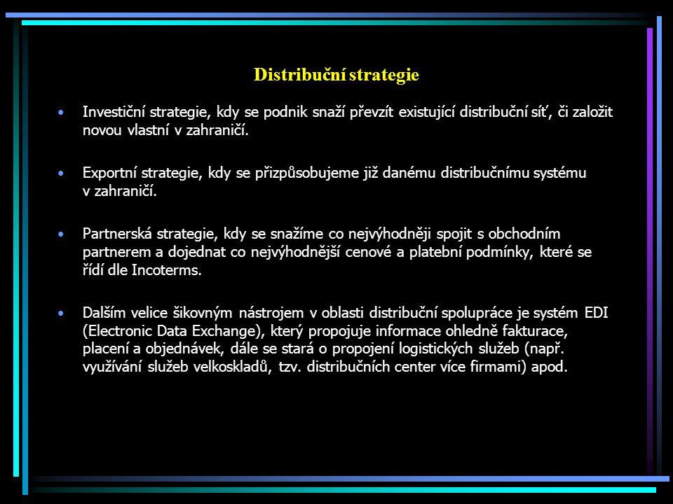 Distribuční strategie Investiční strategie, kdy se podnik snaží převzít existující distribuční síť, či založit novou vlastní v zahraničí. Exportní str