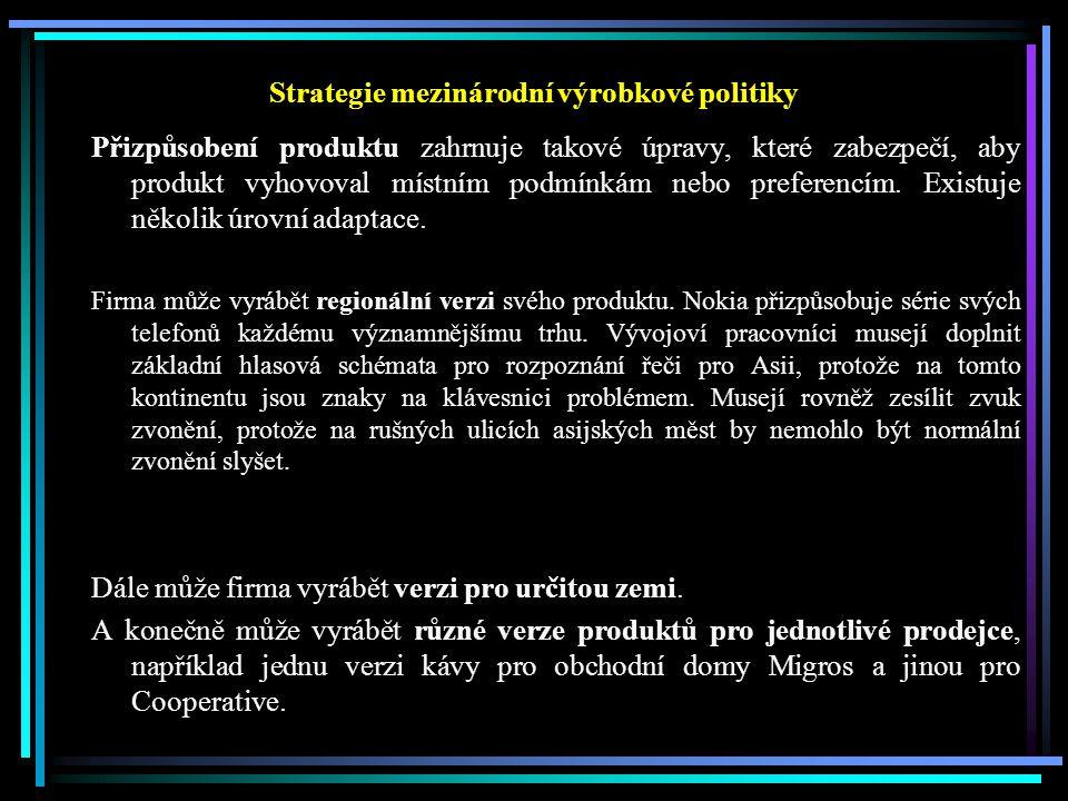 Strategie mezinárodní výrobkové politiky Přizpůsobení produktu zahrnuje takové úpravy, které zabezpečí, aby produkt vyhovoval místním podmínkám nebo p