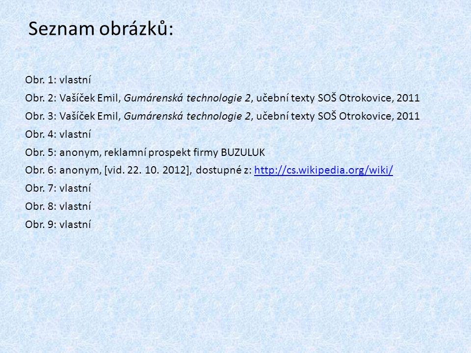 Seznam obrázků: Obr. 1: vlastní Obr. 2: Vašíček Emil, Gumárenská technologie 2, učební texty SOŠ Otrokovice, 2011 Obr. 3: Vašíček Emil, Gumárenská tec