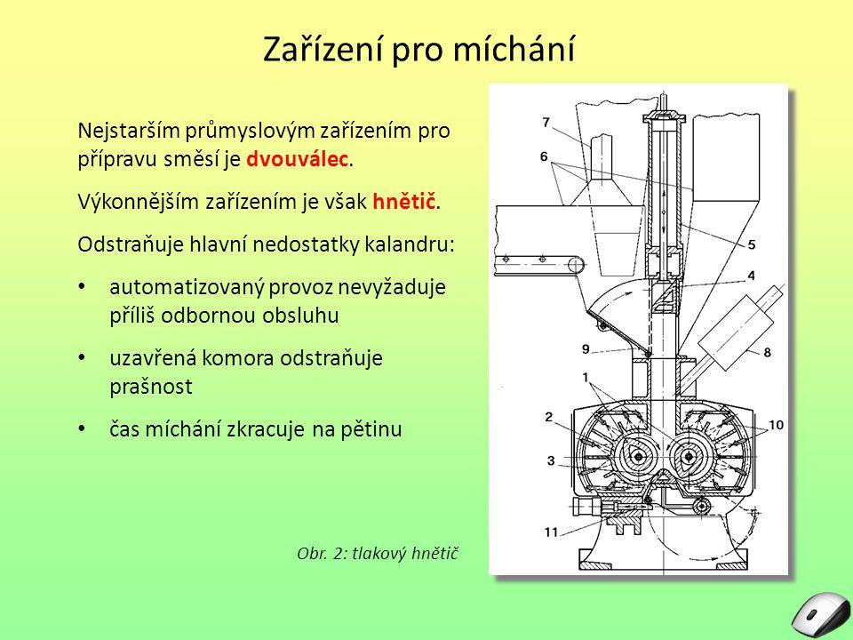 Hnětič Konstrukce těžkého tlakového hnětiče: uzavřená komora se dvěma proti sobě se otáčejícími hnětadly, horní uzávěr uzavírá násypný otvor a vyvozuje tlak (400 – 700 kPa), spodní výpustný uzávěr je posuvný do boku nebo sklopný, celé zařízení má intenzivní chlazení.