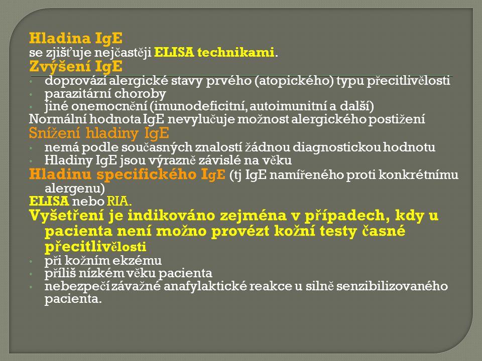 Kvalitativní zm ě ny Ig: velký význam má pr ů kaz paraproteinu: Imunoelfo, imunofixace další laboratorních vyšet ř ení:  neobjasnitelná vysoká sedimentace erytrocyt ů pacienta  vysoká hladina jediné t ř ídy Ig p ř i normálních nebo sní ž ených hladinách ostatních t ř íd Pro stanovení diagnózy myelomu je nutné provézt další laboratorní vyšet ř ení: Sternální punkce:  nachází se zvýšený po č et plazmatických bun ě k, č asto abnormální morfologie (myelomové bu ň ky)  imunologické vyšet ř ení v ě tšinou prokazuje zvýšenou hladinu té t ř ídy Ig, v ní ž je p ř ítomen paraprotein, zatímco u jiných t ř íd nacházíme imunoparézu – sní ž ení hladin dané útlakem kostní d ř en ě  v krvi je p ř ítomna anémie, n ě kdy i leukopenie a trombocytopenie  v séru m ůž eme nalézt hyperkalcémii  zvýšenou hladinu beta – 2 mikroglobulinu  na RTG skeletu, zejm.