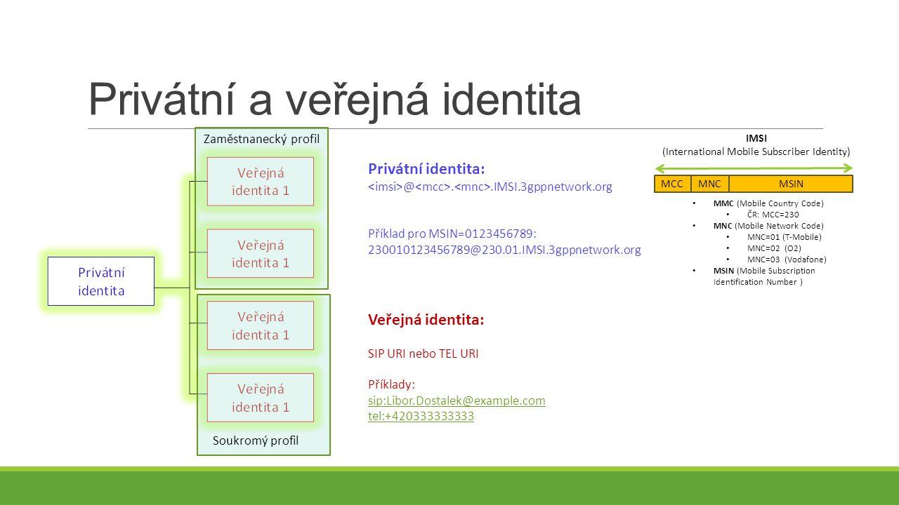 Privátní a veřejná identita MCCMNCMSIN IMSI (International Mobile Subscriber Identity) Privátní identita: @..IMSI.3gppnetwork.org Příklad pro MSIN=0123456789: 230010123456789@230.01.IMSI.3gppnetwork.org MMC (Mobile Country Code) ČR: MCC=230 MNC (Mobile Network Code) MNC=01 (T-Mobile) MNC=02 (O2) MNC=03 (Vodafone) MSIN (Mobile Subscription Identification Number ) Veřejná identita: SIP URI nebo TEL URI Příklady: sip:Libor.Dostalek@example.com tel:+420333333333 Zaměstnanecký profil Soukromý profil