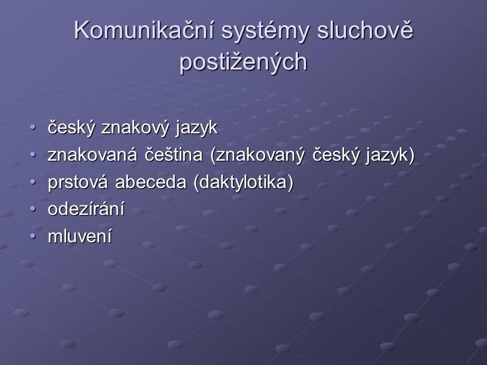 Komunikační systémy sluchově postižených český znakový jazykčeský znakový jazyk znakovaná čeština (znakovaný český jazyk)znakovaná čeština (znakovaný český jazyk) prstová abeceda (daktylotika)prstová abeceda (daktylotika) odezíráníodezírání mluvenímluvení