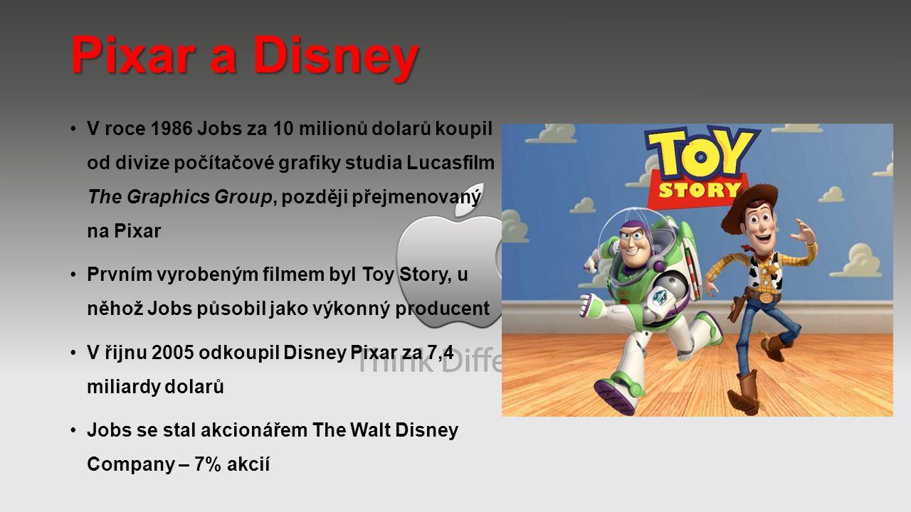 Pixar a Disney V roce 1986 Jobs za 10 milionů dolarů koupil od divize počítačové grafiky studia Lucasfilm The Graphics Group, později přejmenovaný na Pixar Prvním vyrobeným filmem byl Toy Story, u něhož Jobs působil jako výkonný producent V řijnu 2005 odkoupil Disney Pixar za 7,4 miliardy dolarů Jobs se stal akcionářem The Walt Disney Company – 7% akcií