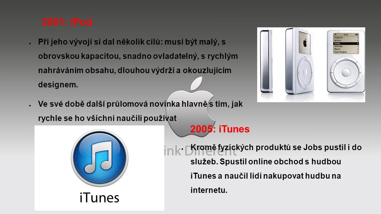 2001: iPod ● Při jeho vývoji si dal několik cílů: musí být malý, s obrovskou kapacitou, snadno ovladatelný, s rychlým nahráváním obsahu, dlouhou výdrží a okouzlujícím designem.