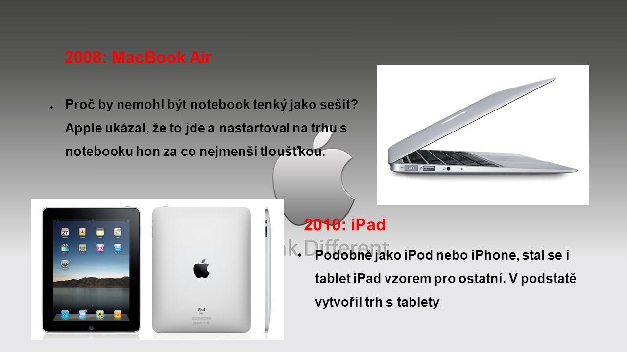2008: MacBook Air ● Proč by nemohl být notebook tenký jako sešit? Apple ukázal, že to jde a nastartoval na trhu s notebooku hon za co nejmenší tloušťk