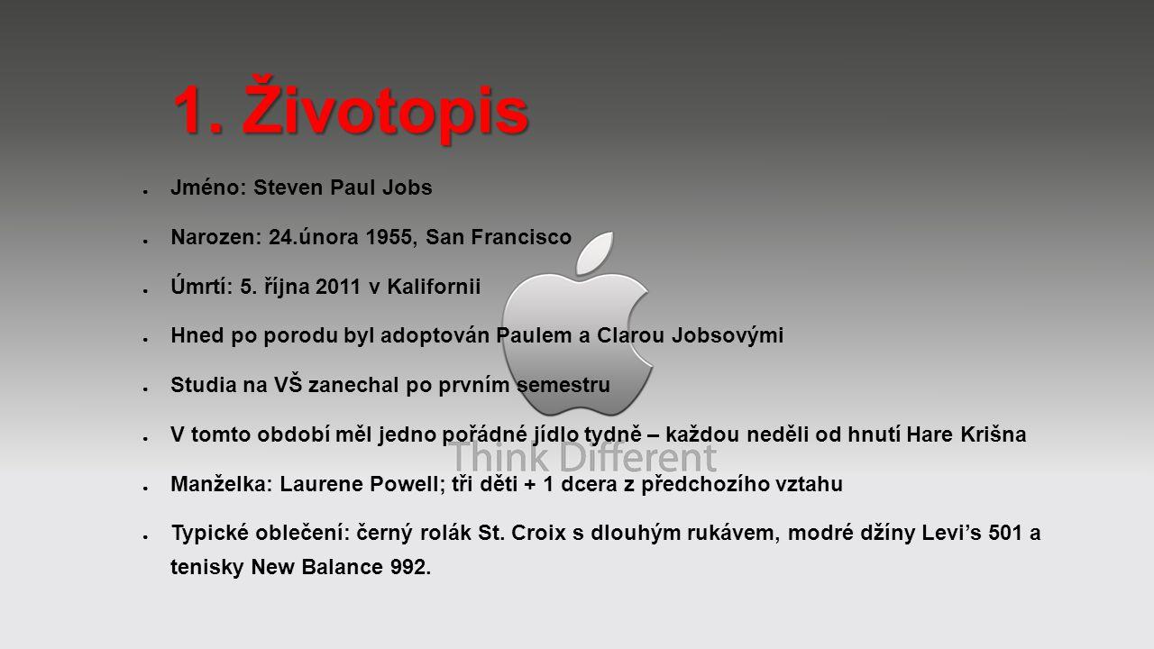 ● Jméno: Steven Paul Jobs ● Narozen: 24.února 1955, San Francisco ● Úmrtí: 5. října 2011 v Kalifornii ● Hned po porodu byl adoptován Paulem a Clarou J