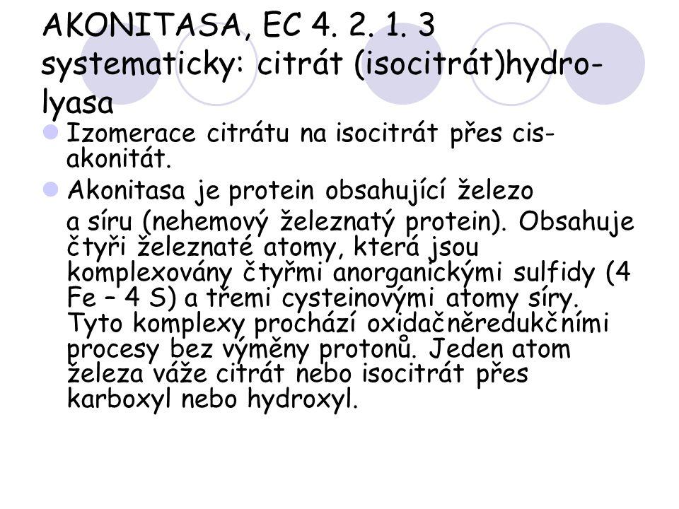 AKONITASA, EC 4. 2. 1. 3 systematicky: citrát (isocitrát)hydro- lyasa Izomerace citrátu na isocitrát přes cis- akonitát. Akonitasa je protein obsahují