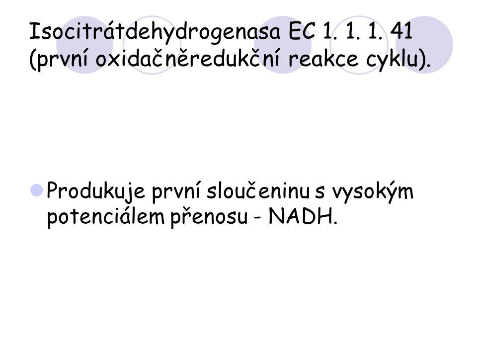 Isocitrátdehydrogenasa EC 1. 1. 1. 41 (první oxidačněredukční reakce cyklu). Produkuje první sloučeninu s vysokým potenciálem přenosu - NADH.