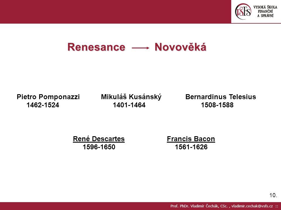 10. Prof. PhDr. Vladimír Čechák, CSc., vladimir.cechak@vsfs.cz :: Renesance Novověká Pietro Pomponazzi Mikuláš KusánskýBernardinus Telesius 1462-1524
