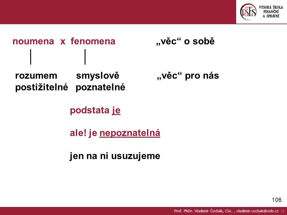 """106. Prof. PhDr. Vladimír Čechák, CSc., vladimir.cechak@vsfs.cz :: noumena x fenomena""""věc"""" o sobě rozumem smyslově """"věc"""" pro nás postižitelné poznatel"""