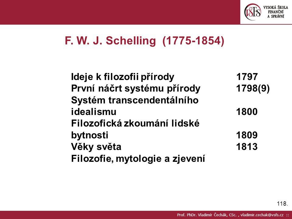 118. Prof. PhDr. Vladimír Čechák, CSc., vladimir.cechak@vsfs.cz :: F. W. J. Schelling (1775-1854) Ideje k filozofii přírody 1797 První náčrt systému p