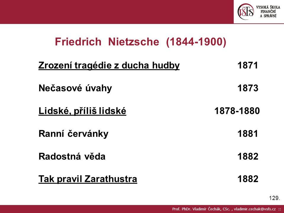 129. Prof. PhDr. Vladimír Čechák, CSc., vladimir.cechak@vsfs.cz :: Friedrich Nietzsche (1844-1900) Zrození tragédie z ducha hudby1871 Nečasové úvahy18