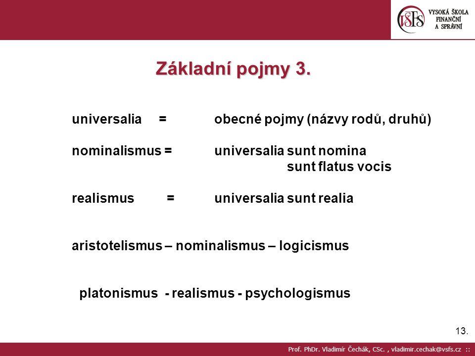 13. Prof. PhDr. Vladimír Čechák, CSc., vladimir.cechak@vsfs.cz :: Základní pojmy 3. universalia =obecné pojmy (názvy rodů, druhů) nominalismus =univer
