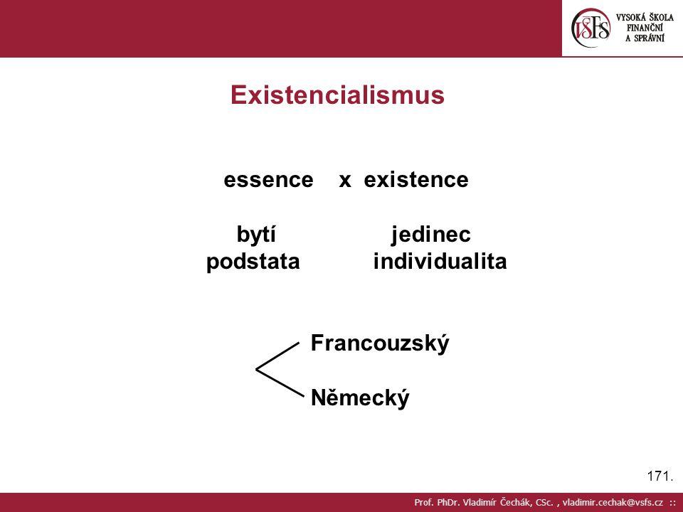 171. Prof. PhDr. Vladimír Čechák, CSc., vladimir.cechak@vsfs.cz :: Existencialismus essence x existence bytí jedinec podstata individualita Francouzsk