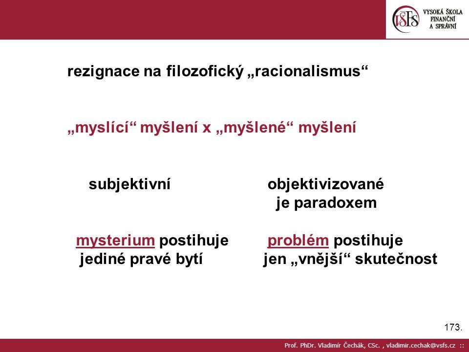 """173. Prof. PhDr. Vladimír Čechák, CSc., vladimir.cechak@vsfs.cz :: rezignace na filozofický """"racionalismus"""" """"myslící"""" myšlení x """"myšlené"""" myšlení subj"""
