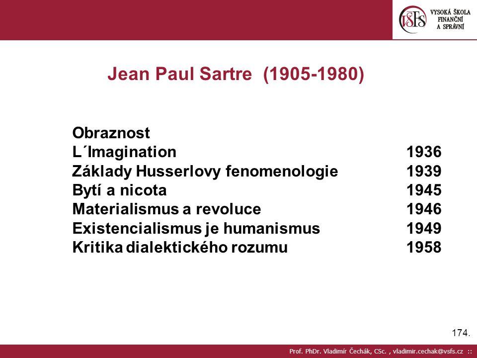 174. Prof. PhDr. Vladimír Čechák, CSc., vladimir.cechak@vsfs.cz :: Jean Paul Sartre (1905-1980) Obraznost L´Imagination1936 Základy Husserlovy fenomen