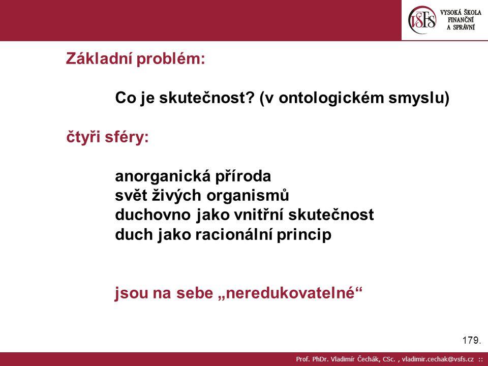 179. Prof. PhDr. Vladimír Čechák, CSc., vladimir.cechak@vsfs.cz :: Základní problém: Co je skutečnost? (v ontologickém smyslu) čtyři sféry: anorganick
