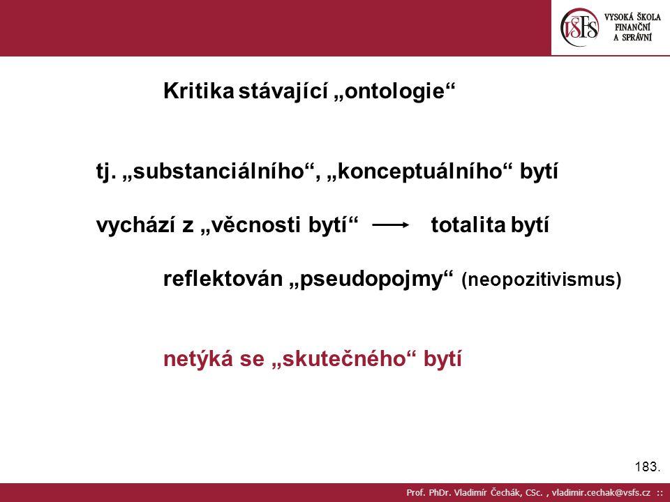 """183. Prof. PhDr. Vladimír Čechák, CSc., vladimir.cechak@vsfs.cz :: Kritika stávající """"ontologie"""" tj. """"substanciálního"""", """"konceptuálního"""" bytí vychází"""