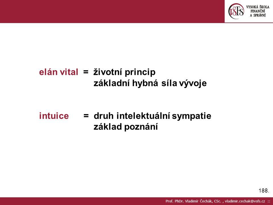 188. Prof. PhDr. Vladimír Čechák, CSc., vladimir.cechak@vsfs.cz :: elán vital = životní princip základní hybná síla vývoje intuice = druh intelektuáln