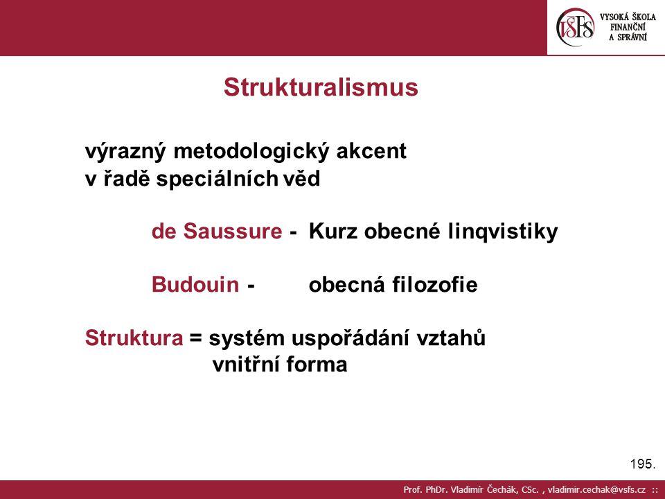 195. Prof. PhDr. Vladimír Čechák, CSc., vladimir.cechak@vsfs.cz :: Strukturalismus výrazný metodologický akcent v řadě speciálních věd de Saussure - K