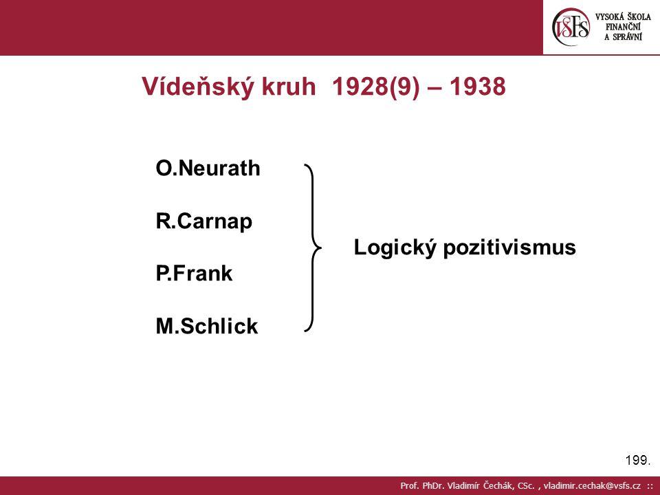 199. Prof. PhDr. Vladimír Čechák, CSc., vladimir.cechak@vsfs.cz :: Vídeňský kruh 1928(9) – 1938 O.Neurath R.Carnap Logický pozitivismus P.Frank M.Schl