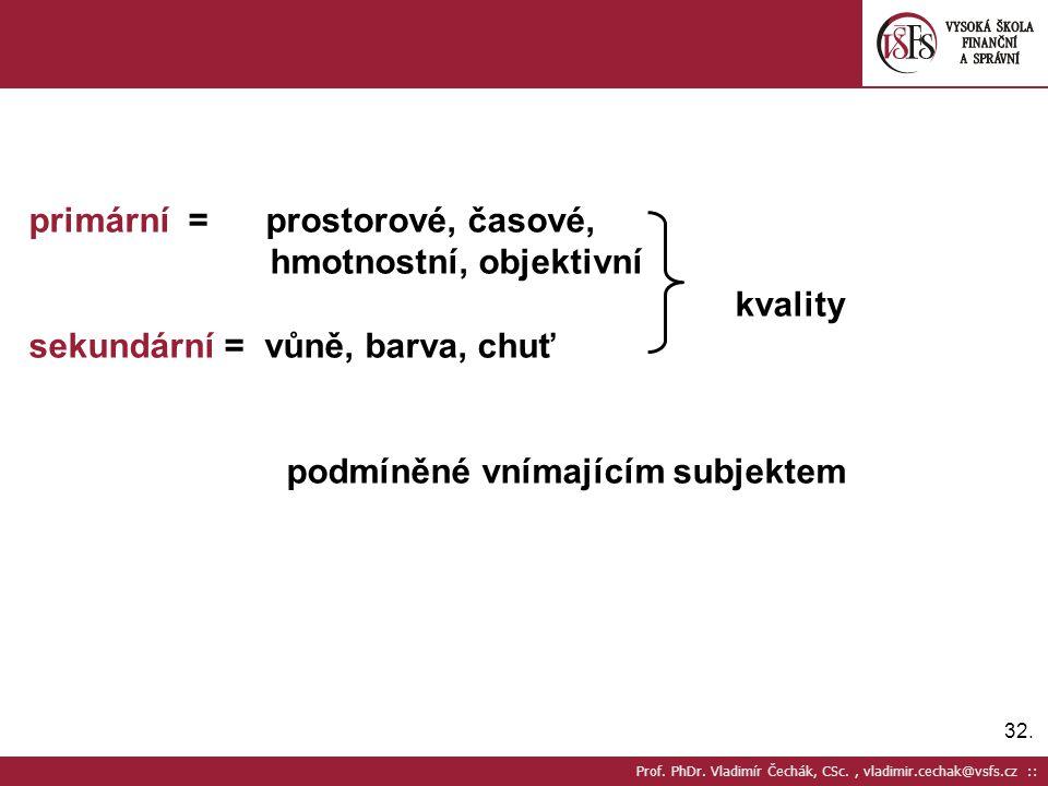 32. Prof. PhDr. Vladimír Čechák, CSc., vladimir.cechak@vsfs.cz :: primární = prostorové, časové, hmotnostní, objektivní kvality sekundární = vůně, bar