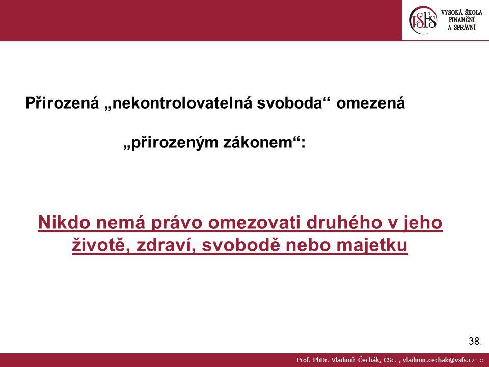 """38. Prof. PhDr. Vladimír Čechák, CSc., vladimir.cechak@vsfs.cz :: Přirozená """"nekontrolovatelná svoboda"""" omezená """"přirozeným zákonem"""": Nikdo nemá právo"""