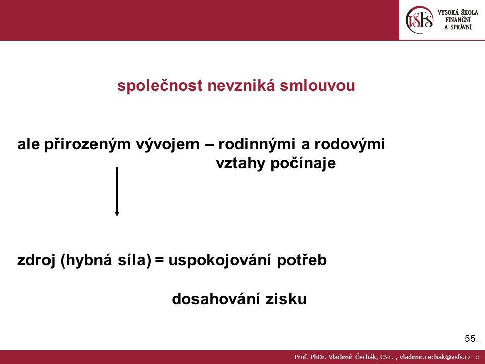 55. Prof. PhDr. Vladimír Čechák, CSc., vladimir.cechak@vsfs.cz :: společnost nevzniká smlouvou ale přirozeným vývojem – rodinnými a rodovými vztahy po