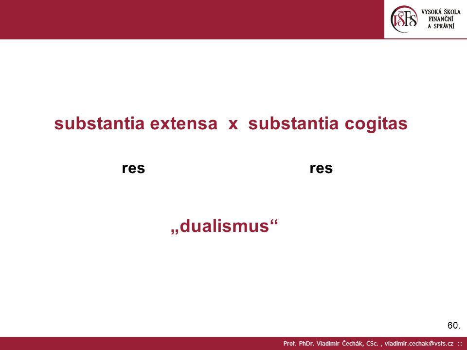 "60. Prof. PhDr. Vladimír Čechák, CSc., vladimir.cechak@vsfs.cz :: substantia extensa x substantia cogitas res res ""dualismus"""