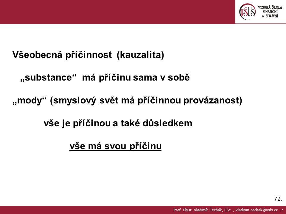 """72. Prof. PhDr. Vladimír Čechák, CSc., vladimir.cechak@vsfs.cz :: Všeobecná příčinnost (kauzalita) """"substance"""" má příčinu sama v sobě """"mody"""" (smyslový"""